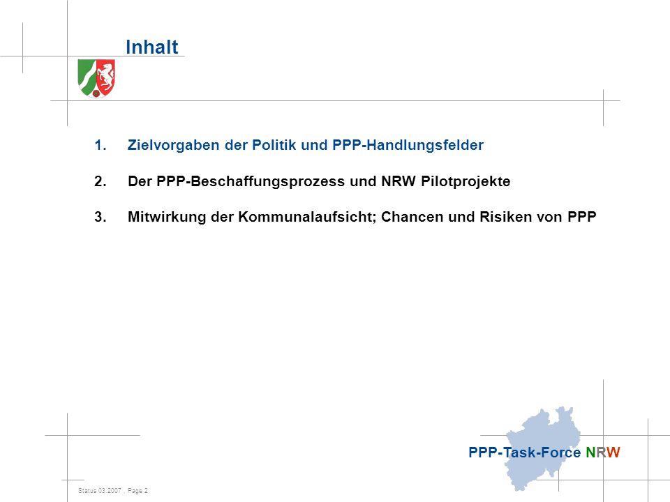 Status 03.2007, Page 2 PPP-Task-Force NRW Inhalt 1.Zielvorgaben der Politik und PPP-Handlungsfelder 2.Der PPP-Beschaffungsprozess und NRW Pilotprojekt