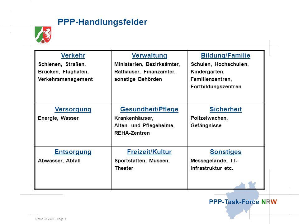 Status 03.2007, Page 4 PPP-Task-Force NRW PPP-Handlungsfelder Verkehr Schienen, Straßen, Brücken, Flughäfen, Verkehrsmanagement Verwaltung Ministerien