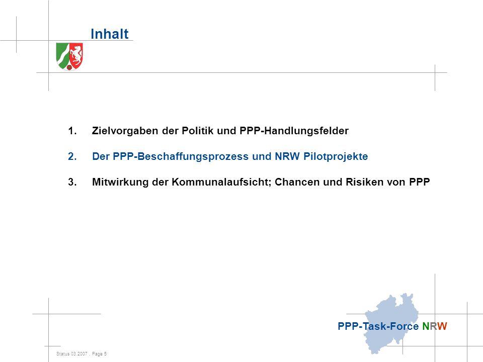 Status 03.2007, Page 5 PPP-Task-Force NRW Inhalt 1.Zielvorgaben der Politik und PPP-Handlungsfelder 2.Der PPP-Beschaffungsprozess und NRW Pilotprojekt