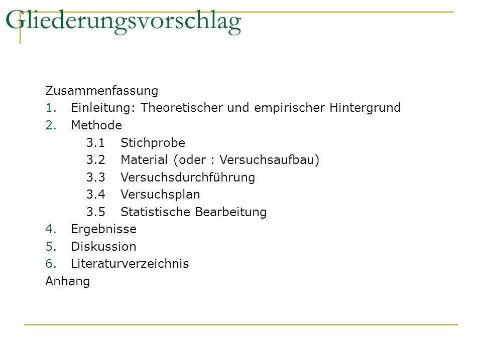 Gliederungsvorschlag Zusammenfassung 1.Einleitung: Theoretischer und empirischer Hintergrund 2.Methode 3.1Stichprobe 3.2Material (oder : Versuchsaufba