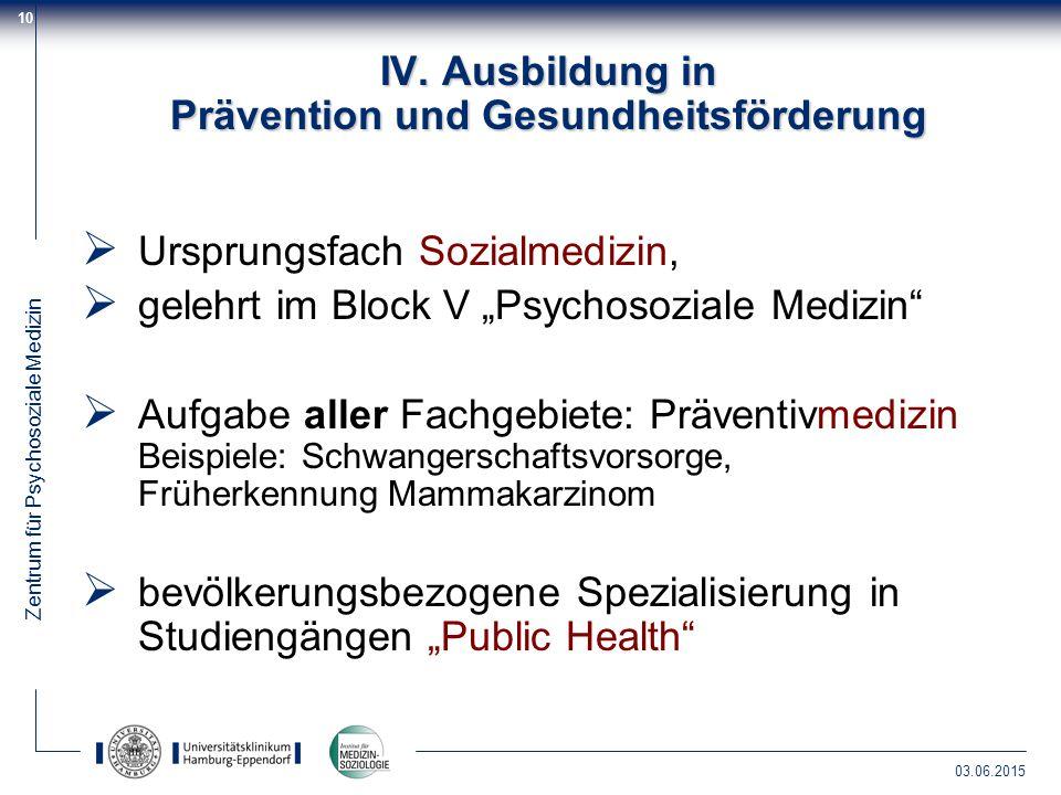 Zentrum für Psychosoziale Medizin 03.06.2015 10 IV. Ausbildung in Prävention und Gesundheitsförderung  Ursprungsfach Sozialmedizin,  gelehrt im Bloc