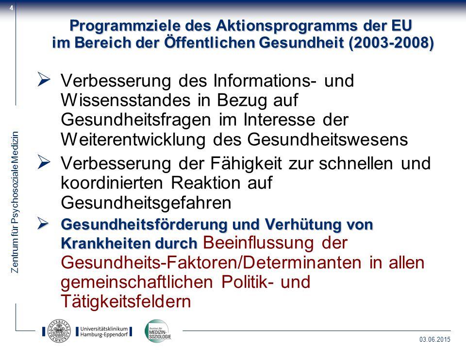 Zentrum für Psychosoziale Medizin 03.06.2015 4 Programmziele des Aktionsprogramms der EU im Bereich der Öffentlichen Gesundheit (2003-2008)  Verbesse