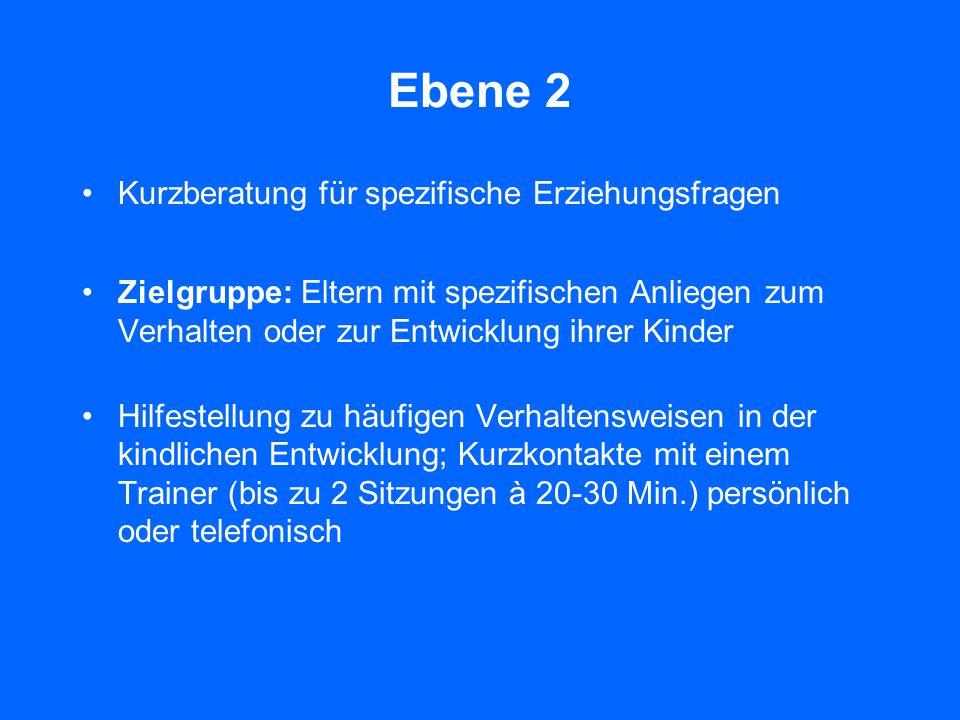 Ebene 1 Universelle Information auf Basis aller verfügbarer Medien Zielgruppe: Alle Eltern, die an Informationen zur Förderung der Entwicklung ihrer K