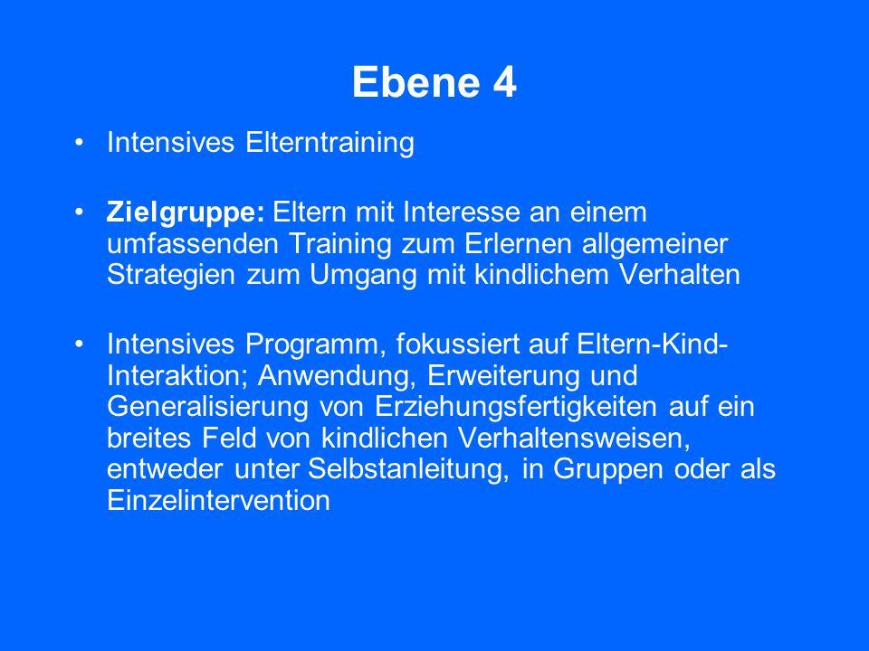 Ebene 3 Kurzberatung und aktives Training Zielgruppe: Eltern mit spezifischen Anliegen zum Verhalten oder zur Entwicklung ihrer Kinder mit Interesse a
