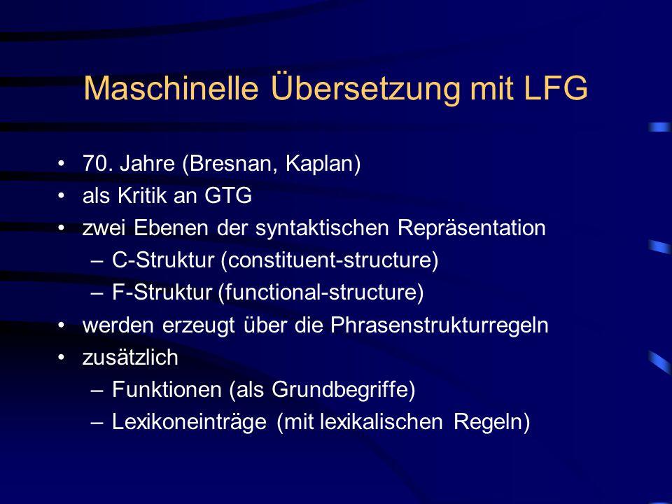 Maschinelle Übersetzung mit LFG 70.