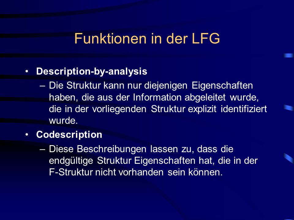 Funktionen in der LFG Description-by-analysis –Die Struktur kann nur diejenigen Eigenschaften haben, die aus der Information abgeleitet wurde, die in der vorliegenden Struktur explizit identifiziert wurde.