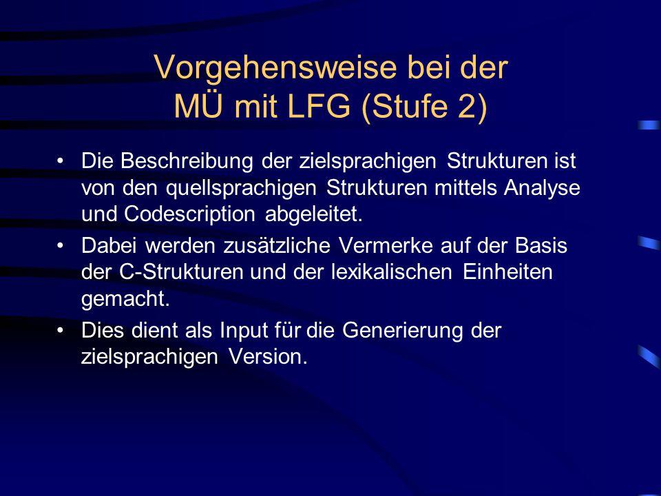 Vorgehensweise bei der MÜ mit LFG (Stufe 2) Die Beschreibung der zielsprachigen Strukturen ist von den quellsprachigen Strukturen mittels Analyse und Codescription abgeleitet.