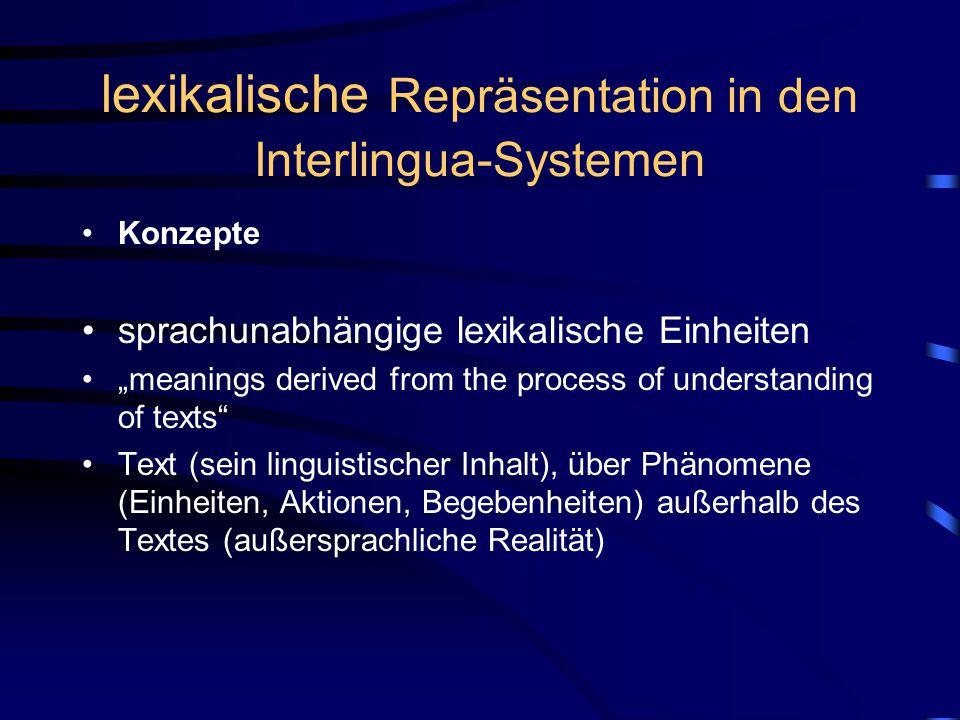 """lexikalische Repräsentation in den Interlingua-Systemen Konzepte sprachunabhängige lexikalische Einheiten """"meanings derived from the process of understanding of texts Text (sein linguistischer Inhalt), über Phänomene (Einheiten, Aktionen, Begebenheiten) außerhalb des Textes (außersprachliche Realität)"""