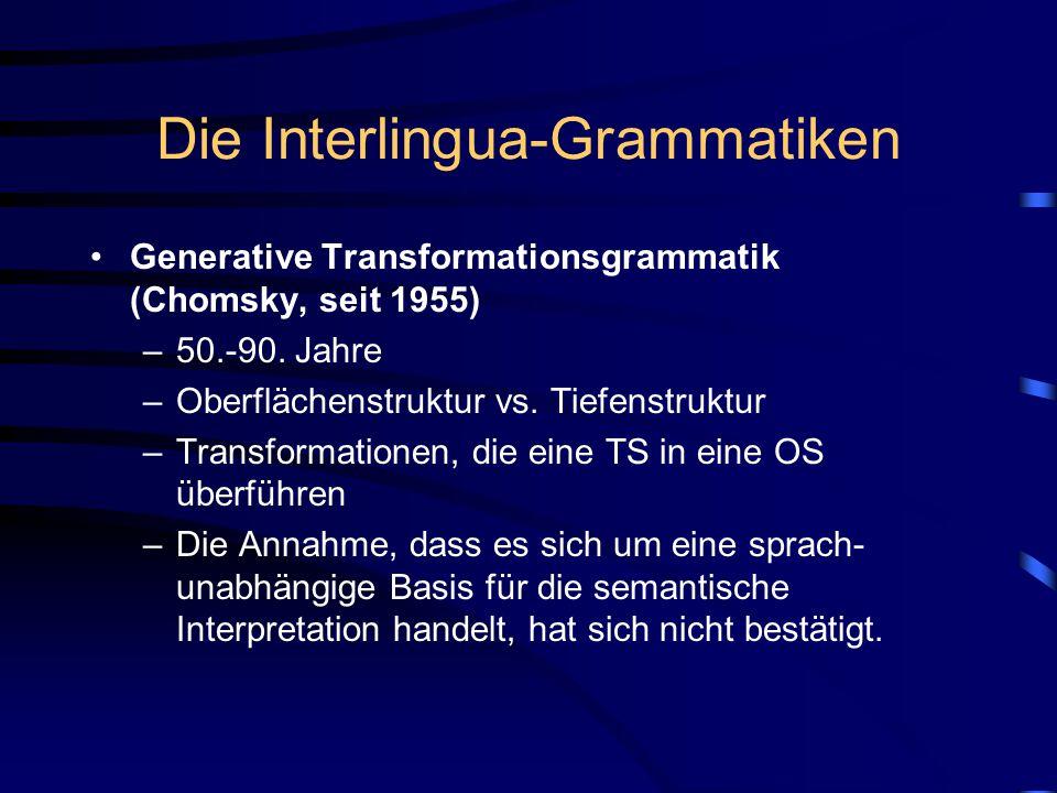 Die Interlingua-Grammatiken Generative Transformationsgrammatik (Chomsky, seit 1955) –50.-90. Jahre –Oberflächenstruktur vs. Tiefenstruktur –Transform