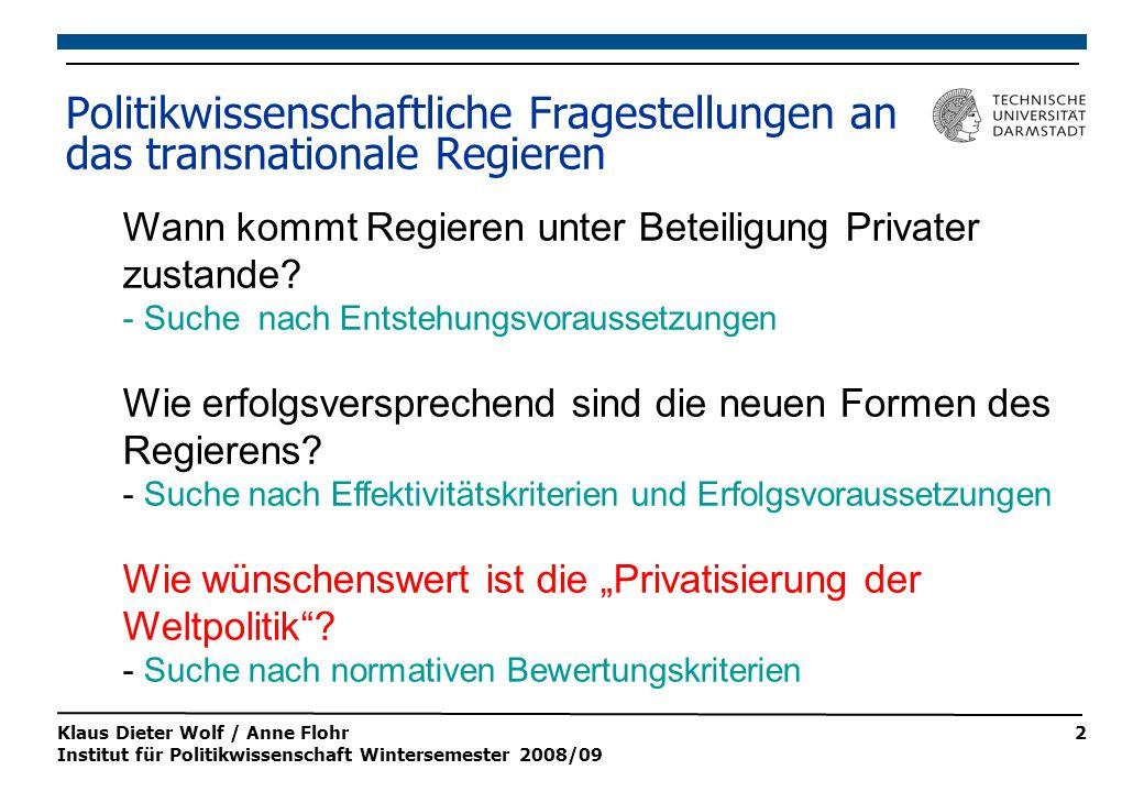 Klaus Dieter Wolf / Anne Flohr Institut für Politikwissenschaft Wintersemester 2008/09 2 Wann kommt Regieren unter Beteiligung Privater zustande.