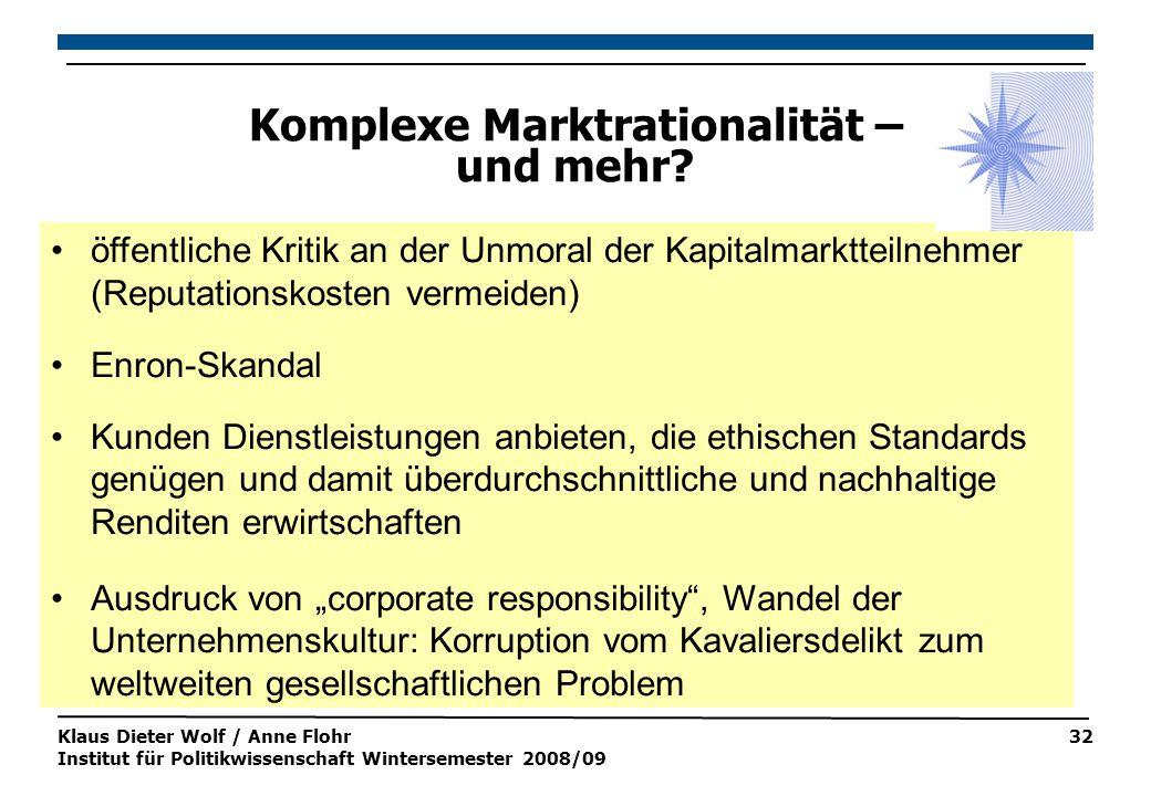 Klaus Dieter Wolf / Anne Flohr Institut für Politikwissenschaft Wintersemester 2008/09 32 Komplexe Marktrationalität – und mehr.