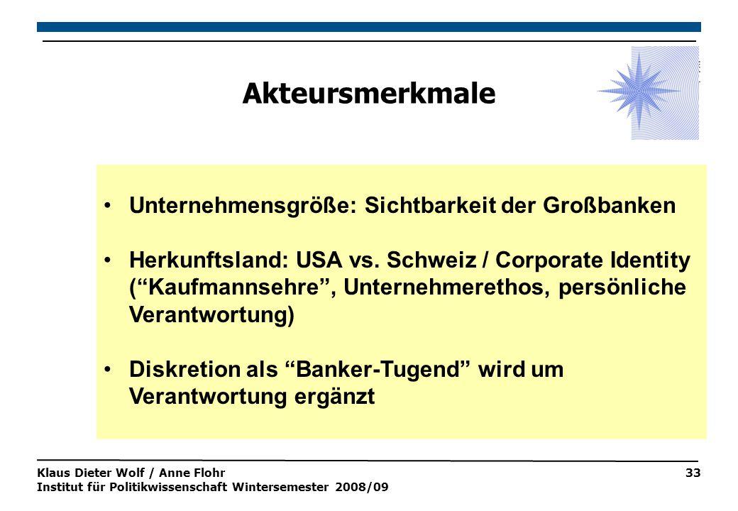 Klaus Dieter Wolf / Anne Flohr Institut für Politikwissenschaft Wintersemester 2008/09 33 Akteursmerkmale Unternehmensgröße: Sichtbarkeit der Großbanken Herkunftsland: USA vs.