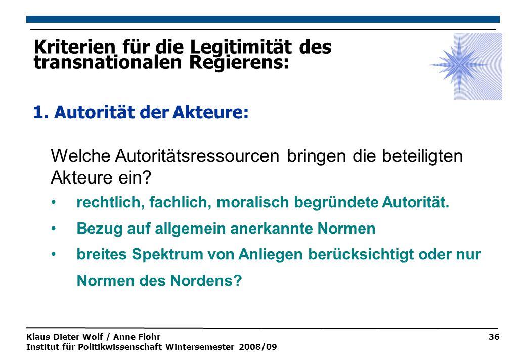 Klaus Dieter Wolf / Anne Flohr Institut für Politikwissenschaft Wintersemester 2008/09 36 Welche Autoritätsressourcen bringen die beteiligten Akteure ein.