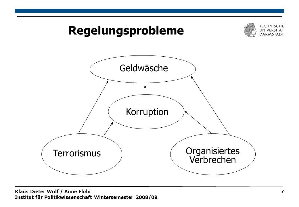Klaus Dieter Wolf / Anne Flohr Institut für Politikwissenschaft Wintersemester 2008/09 7 Regelungsprobleme Terrorismus Organisiertes Verbrechen Korruption Geldwäsche