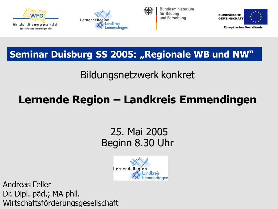 """Seminar Duisburg SS 2005: """"Regionale WB und NW"""" Bildungsnetzwerk konkret Lernende Region – Landkreis Emmendingen 25. Mai 2005 Beginn 8.30 Uhr Andreas"""