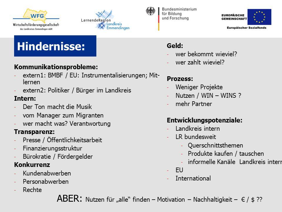 Hindernisse: Kommunikationsprobleme: - extern1: BMBF / EU: Instrumentalisierungen; Mit- lernen - extern2: Politiker / Bürger im Landkreis Intern: - De
