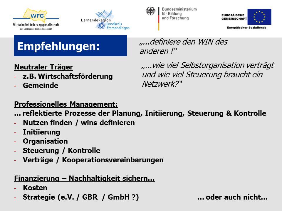 Empfehlungen: Neutraler Träger - z.B. Wirtschaftsförderung - Gemeinde Professionelles Management:... reflektierte Prozesse der Planung, Initiierung, S