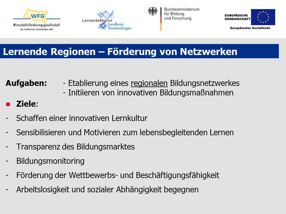 Lernende Regionen – Förderung von Netzwerken Aufgaben: - Etablierung eines regionalen Bildungsnetzwerkes - Initiieren von innovativen Bildungsmaßnahme