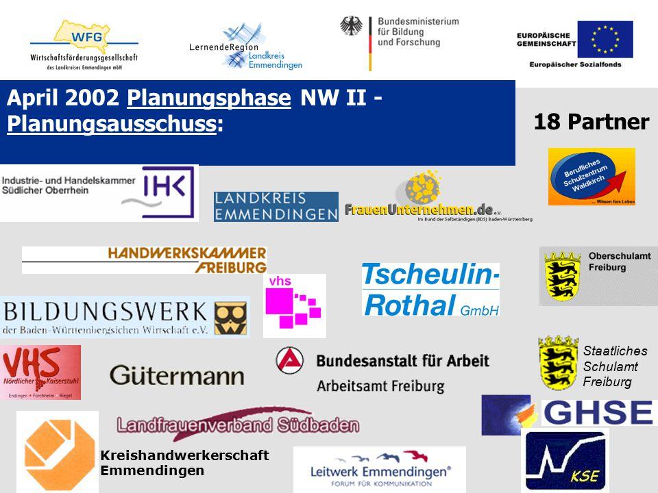April 2002 Planungsphase NW II - Planungsausschuss: Staatliches Schulamt Freiburg Kreishandwerkerschaft Emmendingen 18 Partner