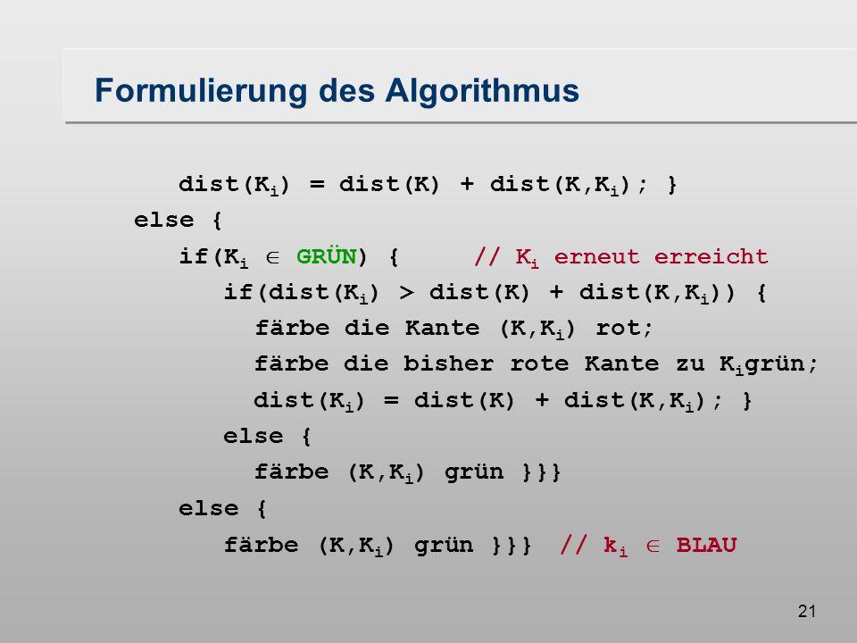 20 Formulierung des Algorithmus algorithm Dijkstra (S) //berechne alle kürzesten Wege von S aus} BLAU =  ; GRÜN = {S}; dist(S) = 0; while( GRÜN   ) { wähle K  GRÜN, so daß  K'  GRÜN: dist(K)  dist(K'); färbe K blau; for( K i  succ(K) ) { if (K i  (GRÜN  BLAU) //noch nicht besuchter Knoten färbe die Kante (K,K i ) rot; färbe K i grün; dist(K i ) = dist(K) + dist(K,K i ); }