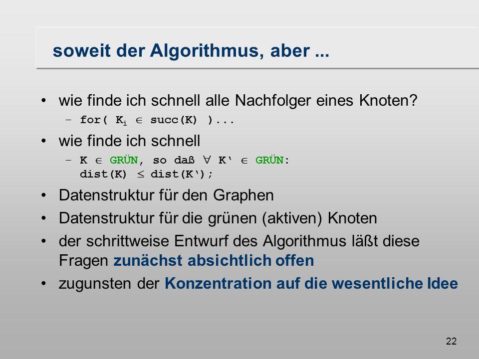 21 Formulierung des Algorithmus dist(K i ) = dist(K) + dist(K,K i ); } else { if(K i  GRÜN) { // K i erneut erreicht if(dist(K i ) > dist(K) + dist(K,K i )) { färbe die Kante (K,K i ) rot; färbe die bisher rote Kante zu K i grün; dist(K i ) = dist(K) + dist(K,K i ); } else { färbe (K,K i ) grün }}} else { färbe (K,K i ) grün }}} // k i  BLAU
