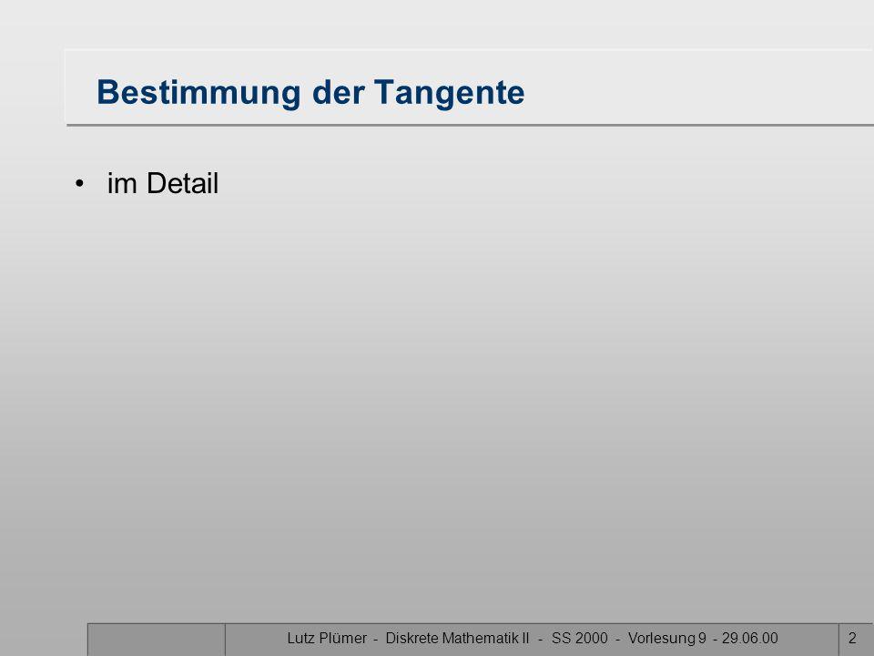 Lutz Plümer - Diskrete Mathematik II - SS 2000 - Vorlesung 9 - 29.06.002 Bestimmung der Tangente im Detail