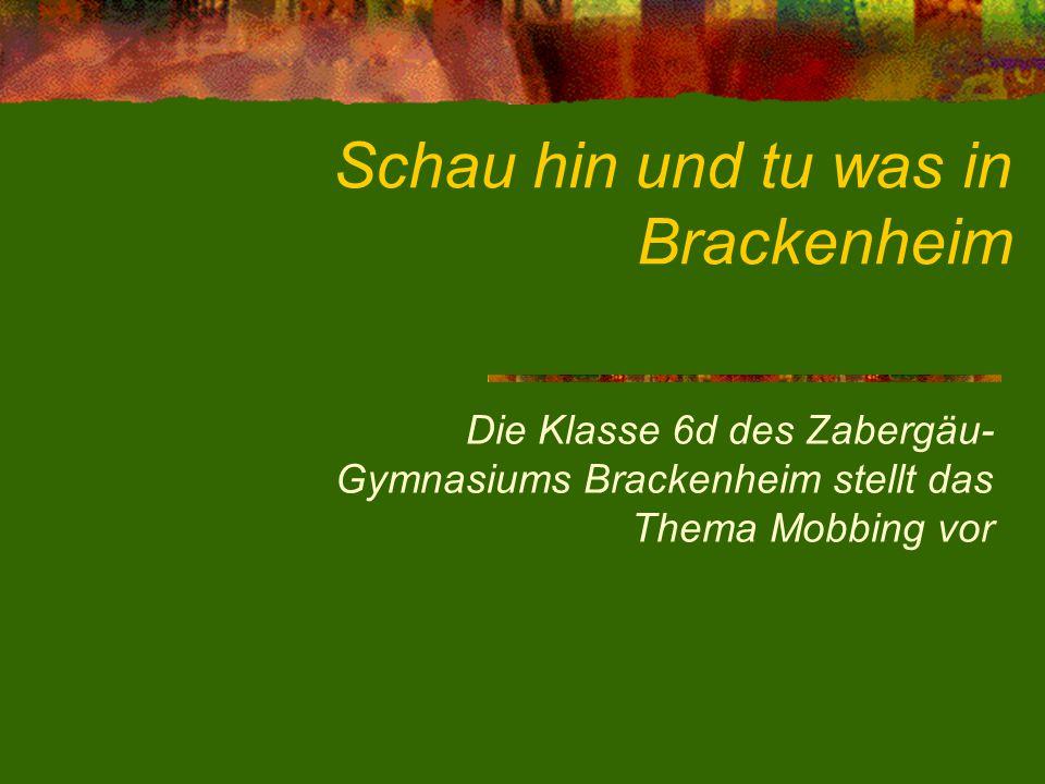 Schau hin und tu was in Brackenheim Die Klasse 6d des Zabergäu- Gymnasiums Brackenheim stellt das Thema Mobbing vor