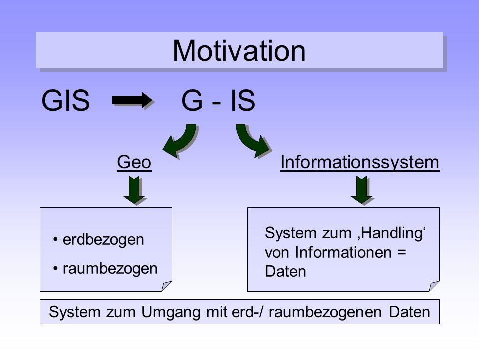 Motivation GISG - IS GeoInformationssystem erdbezogen raumbezogen System zum 'Handling' von Informationen = Daten System zum Umgang mit erd-/ raumbezo