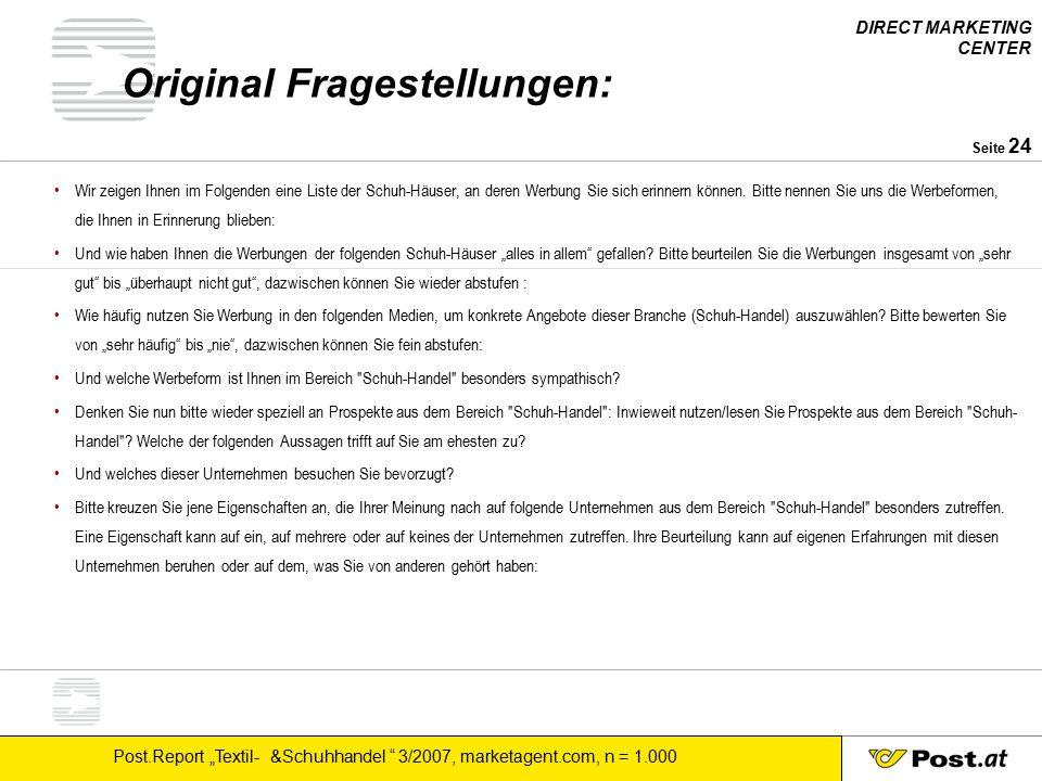 """DIRECT MARKETING CENTER Post.Report """"Textil- &Schuhhandel 3/2007, marketagent.com, n = 1.000 Seite 25 Post.Report: Jahresplan Im Unterschied zu Mediaanalyse, Regioprint, etc."""
