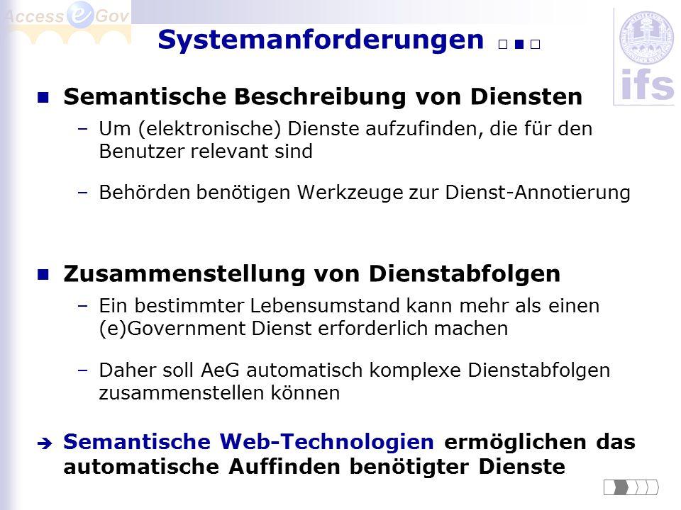 Semantische Beschreibung von Diensten –Um (elektronische) Dienste aufzufinden, die für den Benutzer relevant sind –Behörden benötigen Werkzeuge zur Di