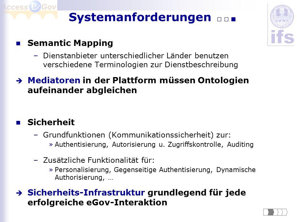Semantic Mapping –Dienstanbieter unterschiedlicher Länder benutzen verschiedene Terminologien zur Dienstbeschreibung  Mediatoren in der Plattform müs