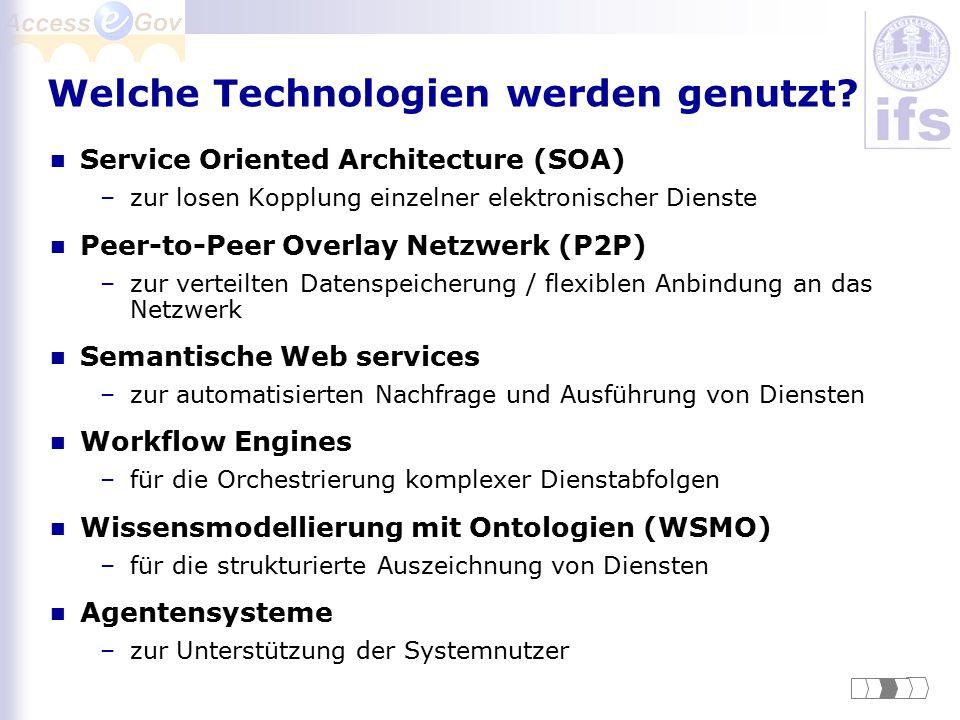 Welche Technologien werden genutzt? Service Oriented Architecture (SOA) –zur losen Kopplung einzelner elektronischer Dienste Peer-to-Peer Overlay Netz