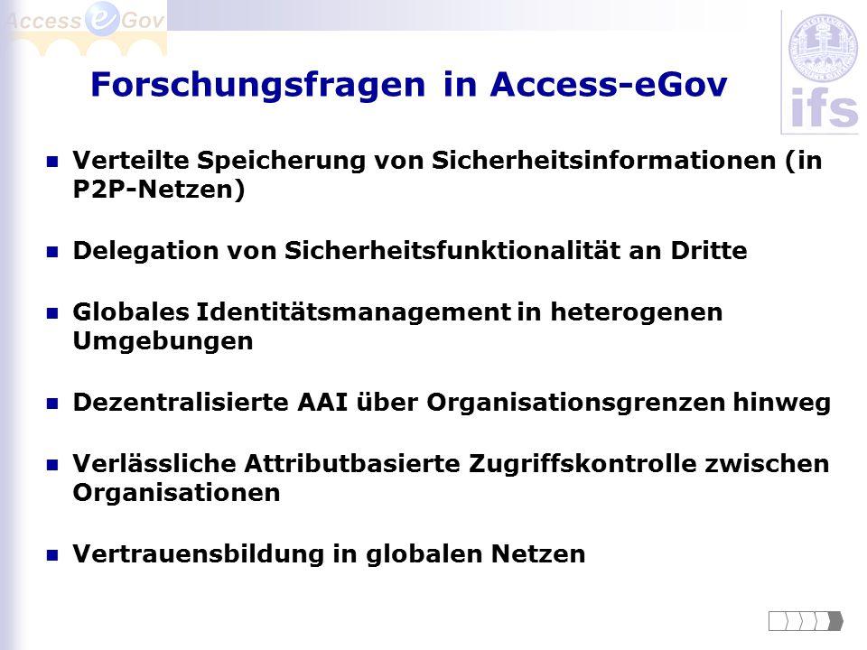 Forschungsfragen in Access-eGov Verteilte Speicherung von Sicherheitsinformationen (in P2P-Netzen) Delegation von Sicherheitsfunktionalität an Dritte