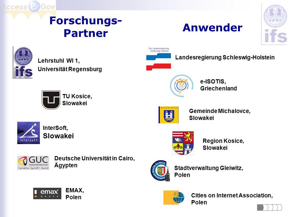 Forschungs- Partner Anwender Lehrstuhl WI 1, Universität Regensburg Deutsche Universität in Cairo, Ägypten InterSoft, Slowakei EMAX, Polen e-ISOTIS, G