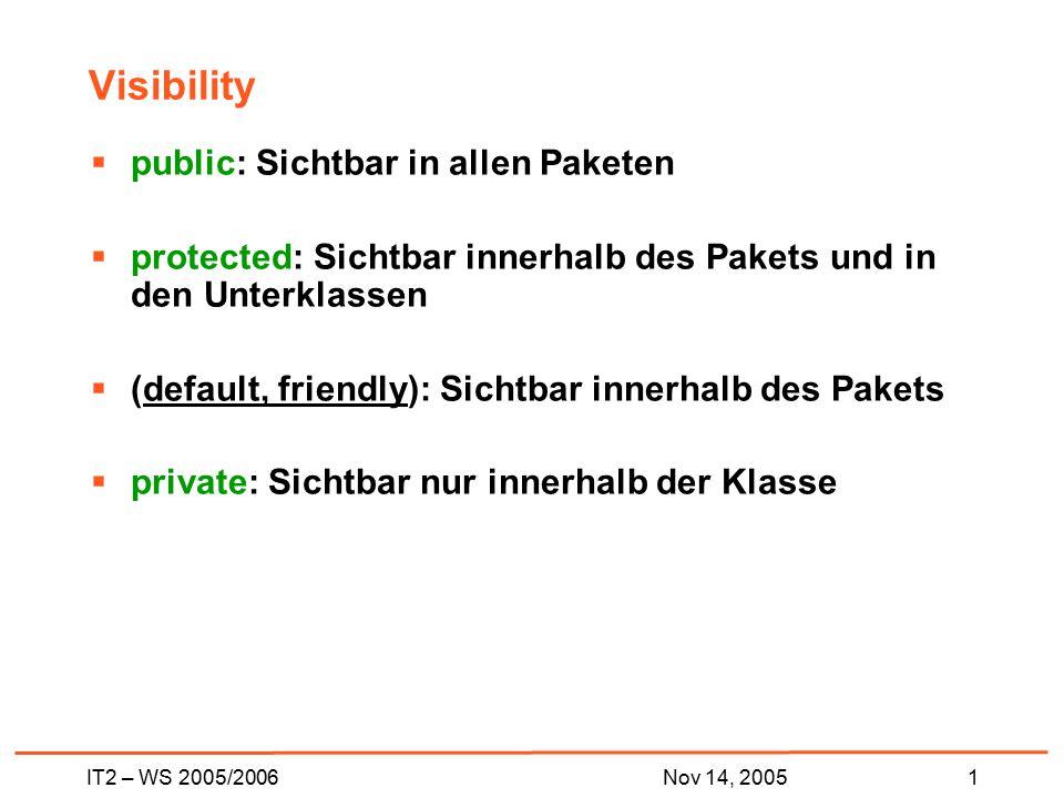 IT2 – WS 2005/20061Nov 14, 2005 Visibility  public: Sichtbar in allen Paketen  protected: Sichtbar innerhalb des Pakets und in den Unterklassen  (default, friendly): Sichtbar innerhalb des Pakets  private: Sichtbar nur innerhalb der Klasse