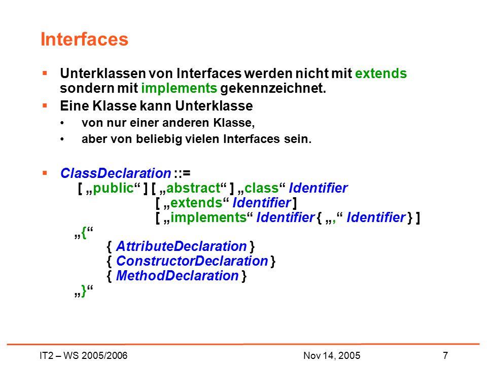 IT2 – WS 2005/20067Nov 14, 2005 Interfaces  Unterklassen von Interfaces werden nicht mit extends sondern mit implements gekennzeichnet.  Eine Klasse