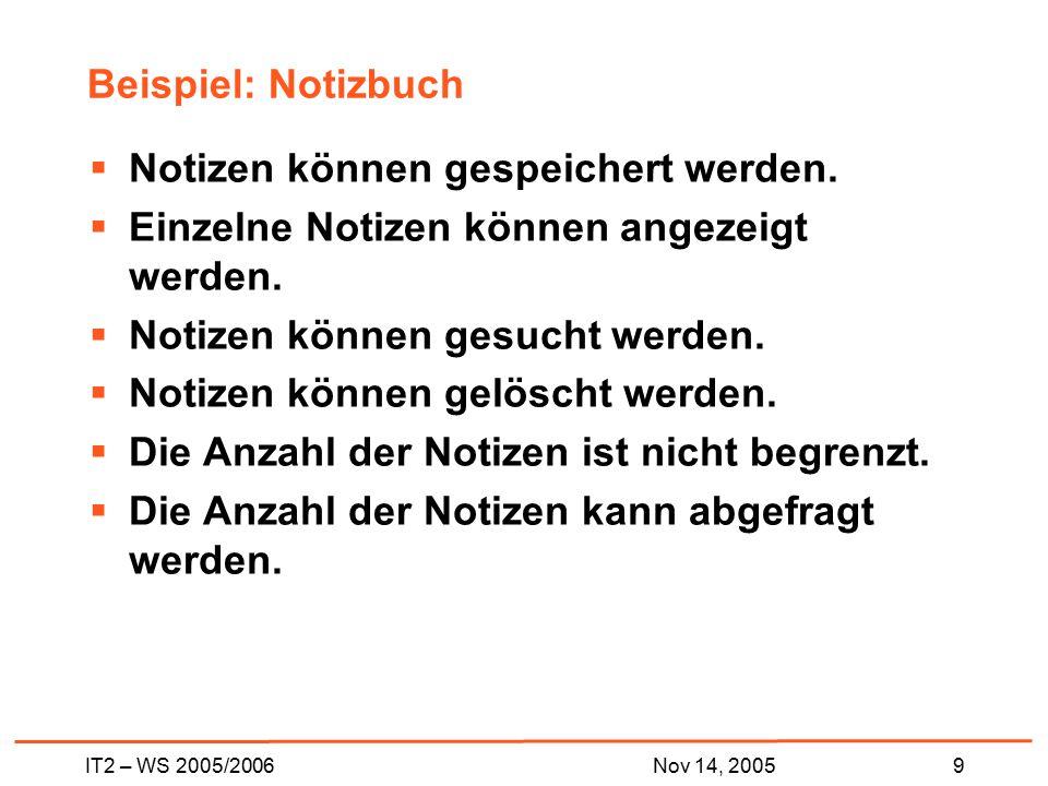 IT2 – WS 2005/20069Nov 14, 2005 Beispiel: Notizbuch  Notizen können gespeichert werden.  Einzelne Notizen können angezeigt werden.  Notizen können
