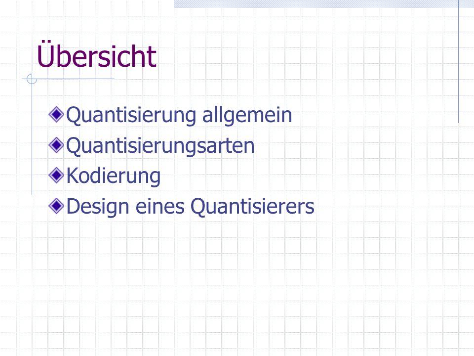 Übersicht Quantisierung allgemein Quantisierungsarten Kodierung Design eines Quantisierers