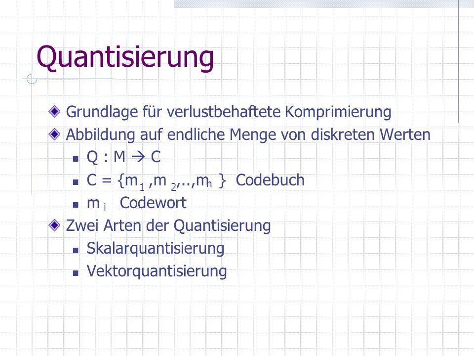 Quantisierung Grundlage für verlustbehaftete Komprimierung Abbildung auf endliche Menge von diskreten Werten Q : M  C C = {m,m,..,m } Codebuch m Codewort Zwei Arten der Quantisierung Skalarquantisierung Vektorquantisierung i n 21