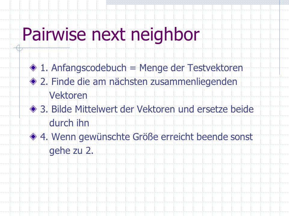 Pairwise next neighbor 1. Anfangscodebuch = Menge der Testvektoren 2.