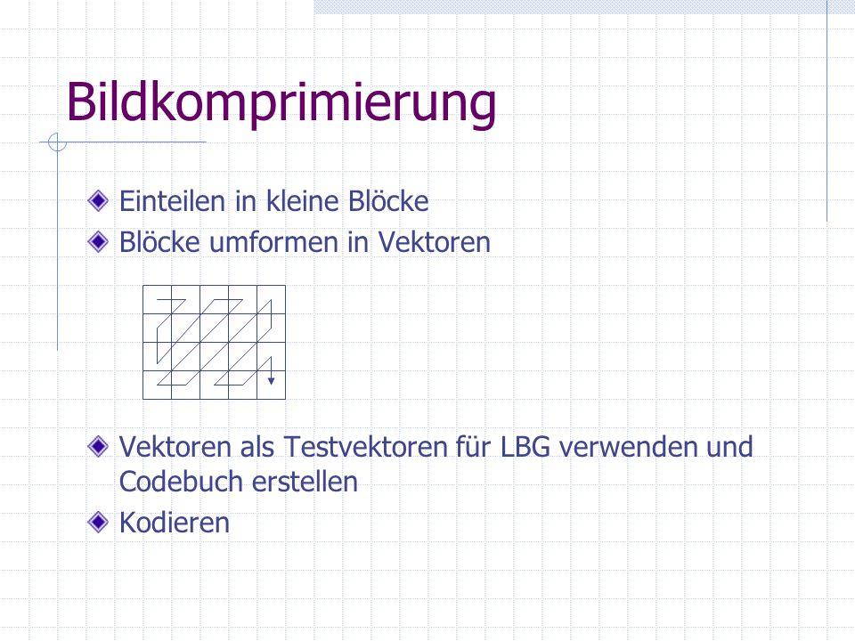 Bildkomprimierung Einteilen in kleine Blöcke Blöcke umformen in Vektoren Vektoren als Testvektoren für LBG verwenden und Codebuch erstellen Kodieren