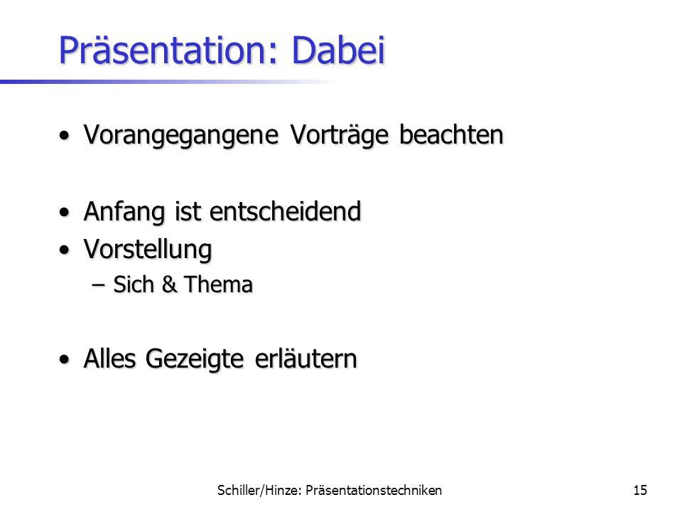Schiller/Hinze: Präsentationstechniken14 Präsentation: Vorher Notizen für NotfallNotizen für Notfall Backup dabeihaben!Backup dabeihaben! Pünktlich er