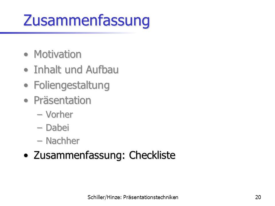 Schiller/Hinze: Präsentationstechniken19 Präsentation: Nachher Fragen als Teil des VortragsFragen als Teil des Vortrags –Frage verstanden? –Ehrliche A