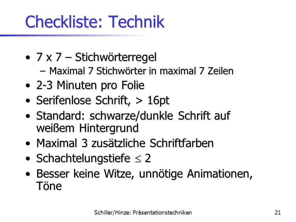 Schiller/Hinze: Präsentationstechniken20 Zusammenfassung MotivationMotivation Inhalt und AufbauInhalt und Aufbau FoliengestaltungFoliengestaltung Präs