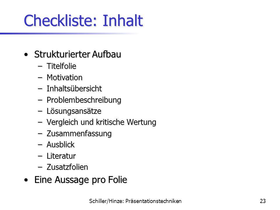 Schiller/Hinze: Präsentationstechniken22 Checkliste: Wissenschaftlicher Stil Keine PersonalpronominaKeine Personalpronomina Korrekte technische Einhei