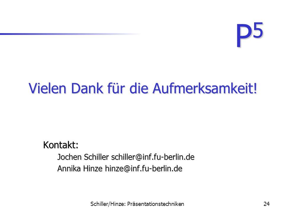 Schiller/Hinze: Präsentationstechniken23 Checkliste: Inhalt Strukturierter AufbauStrukturierter Aufbau –Titelfolie –Motivation –Inhaltsübersicht –Prob