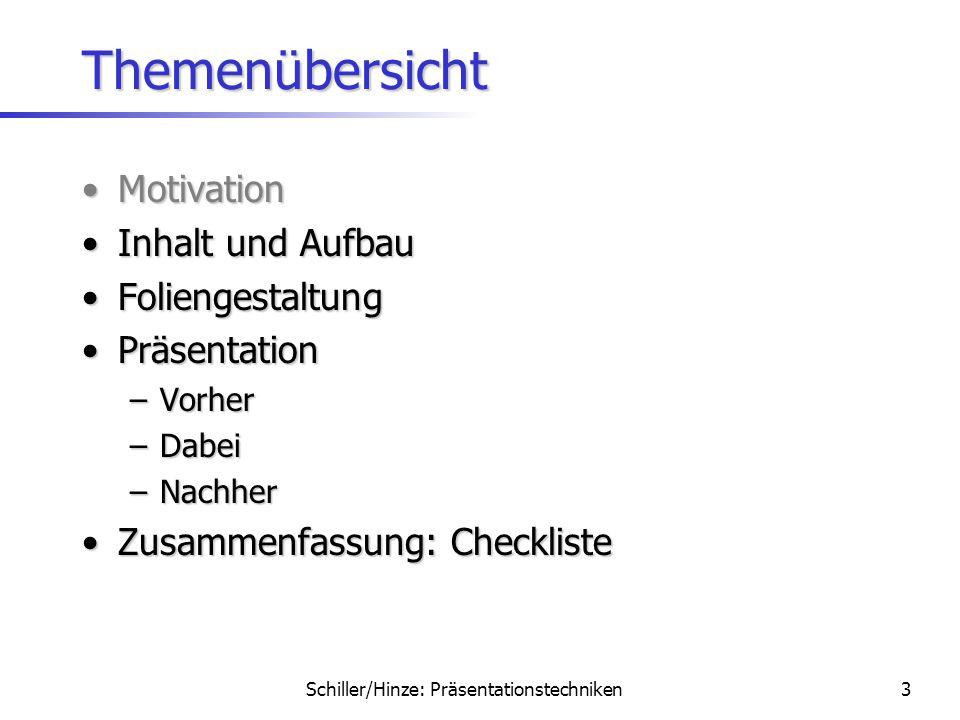 Schiller/Hinze: Präsentationstechniken2 Motivation Was fandet Ihr schon immer besonders schrecklich?