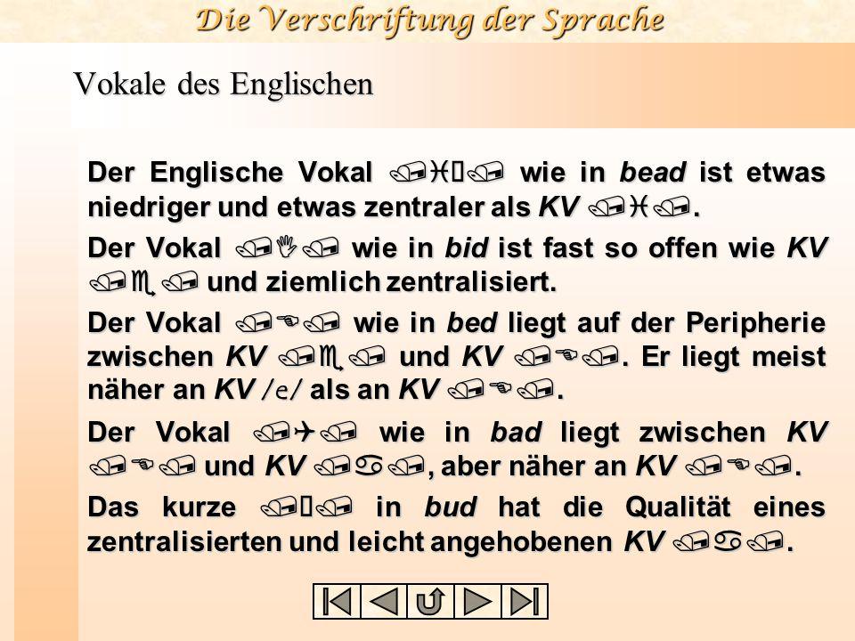 Die Verschriftung der Sprache Einzelsprachliche Vokale Mit dem Bezugsrahmen der Kardinalvokale können nun die Vokale spezifischer Sprachen relativ zu