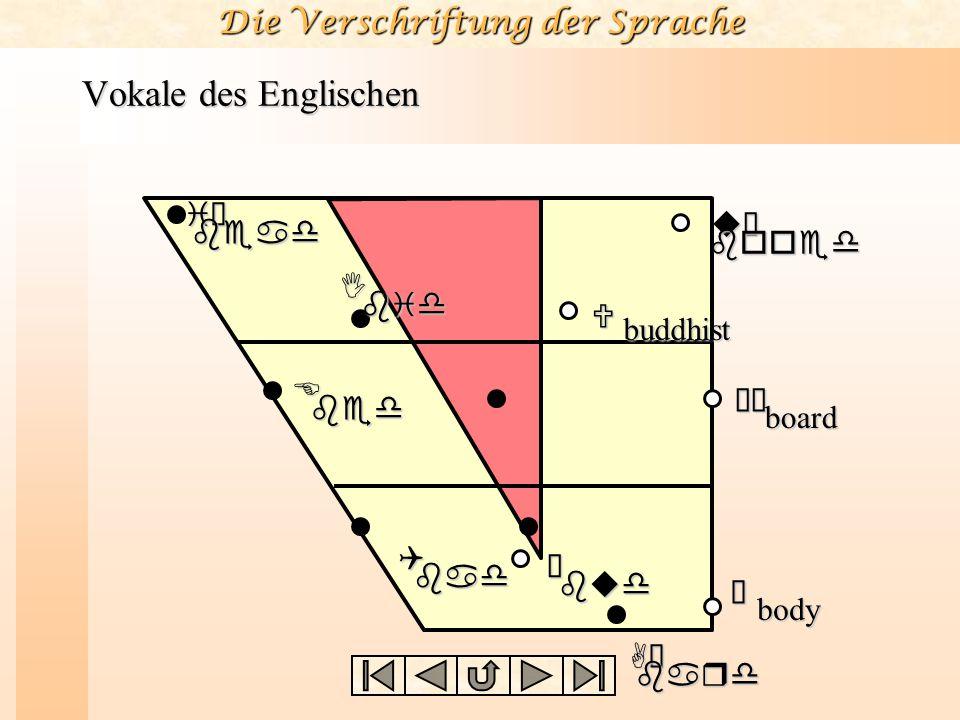 Die Verschriftung der Sprache Vokale des Englischen iùbead Ibid Ebed Ãbud Qbad