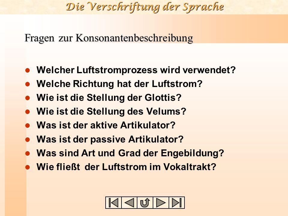 Die Verschriftung der Sprache Fragen zur Konsonantenbeschreibung Welcher Luftstromprozess wird verwendet.